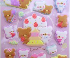 Japanese SUPER PUFFY stickers! Kawaii teddy bear stickers, cute dessert treats