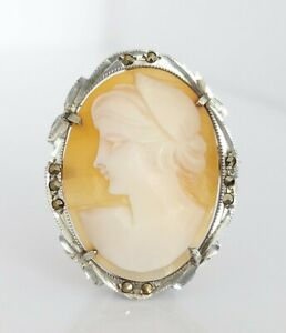 Beautiful Vintage 800 Fine Silver & Marcasite Carved Cameo Shell Pin Brooch