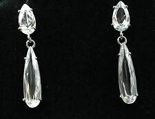 Clear Platinum Plated Zircon Crystal CZ Drop Earrings