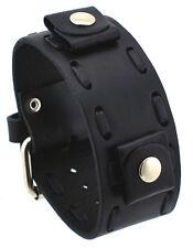 Nemesis NBD-K Black Lace Stitching Wide Leather Cuff Wrist Watch Band