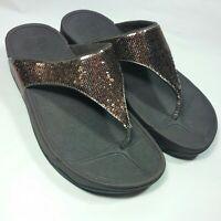 NICE FitFlop Electra Sequin Bronze Brown Flip Flops Thong Sandals Women's Size 9