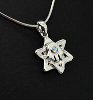 Silver Plated Star of David with crystals Jewish Messianic Israel pendant