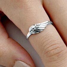 .925 Sterling Silver Ring size 6 Angel Wing Midi Knuckle Wings Ladies New p86