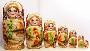 "Russian doll 7 pc Autumn Handmade Matryoshka Nesting Stacking Doll H20cm  7.87"""