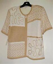 Camel/White Zip Cardigan Sweater Size 10 NEW