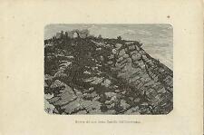 Stampa antica VERCURAGO resti Castello Innominato Lecco 1874 Old antique print