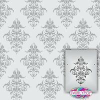 """Wall Stencil Riddle 8.5/""""x11/"""" Craft Airbrush Pattern Painting Paint 018 Damask"""