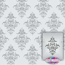 "Swirlypop Designs Damask2 wall stencil ** LARGE ** 12""x9"" Faux Mural Pattern"