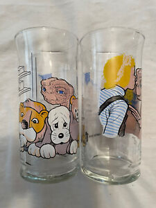 1982 ET Extra Terrestrial Pizza Hut Home Be Good 2 Limited Edition Promo Glasses