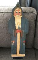 "Vintage Folk Art Santa Claus Belsnickle Artisian Handpainted 23.5"" Tall K Curran"