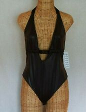Urban Outfitters Out From Under Womens Bathing Suit Sz M One Piece Black Shiny