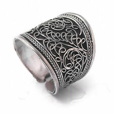 Vintage tibet silver men's unisex band thumb adjustable ring