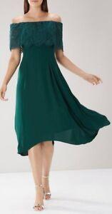 WOMENS COAST ORIEL LACE BARDOT DRESS REGULARL PLUS SIZE 6/18 GREEN ONLY £23.95
