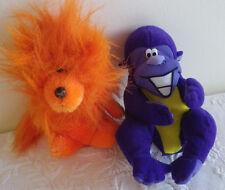"Stuffed Animal Lot of 2 Acme 1985 Lion 7"" & Zyrtec Purple Monkey 8"" Toy"