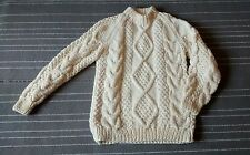 Remo Fishermans Sweater Pullover Crewneck Chunky Wool Cable Knit Italy Cream XL