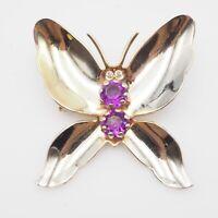 Vintage Gold Tone Purple Acrylic & Crystal Rhinestone Butterfly Brooch Pin