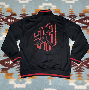 Air Jordan Dry-Fit Zip Up Jacket Black w/Red Jumpman Logo Large L 100% Polyester