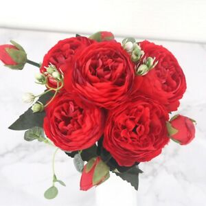 30cmx Rose Pink Silk Peony Artificial Flowers Bouquet 5 Big Head and 4 Bud Cheap