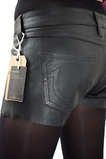 "True Religion Sexy Ladies Black Leather Shorts 28"" BNWT RRP £300"