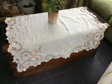 Small Embroided Vintage Tablecloth Cream Linen