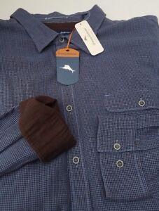 Tommy Bahama Havana Squared Dockside Blue Shirt Check Mens LS Flannel 3XT 3X NEW