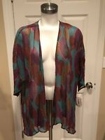 "LuLaRoe Multi-Colored Leaf Print ""Lindsay"" Kimono Cover-Up Cardigan, Size S NWT!"