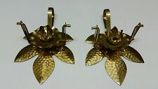 Brass Lotus Flower Candle Stick Holder Blossom Set 2 Pair Leaf Vintage Swinging