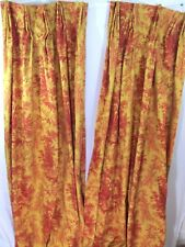 "FRENCH COUNTRY 2 CURTAINS PANELS TOILE CUSTOM PLEATED LINED 1 SET 11"" X 90"" NICE"