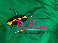 VTG Green Satin Jacket 2XL Pearl Records Embroidered Retro Logo Atomic Age