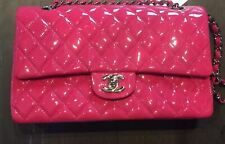 1590b78bfce3d9 Chanel Pink Quilted Patent Leather Jumbo Classic Double Flap hand bag