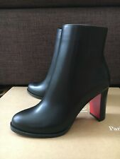 New Christian Louboutin  Adox 85mm Black Leather Zip Heels Size 35,5