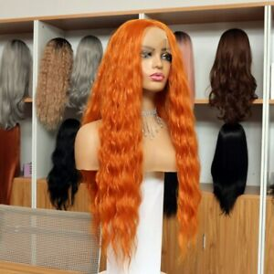 AU 24inch Synthetic hair Glueless Lace front wigs Wavy Long Orange Full Head