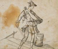 """Zeichnung n. Jost AMMANS Folge der 12 Monate, """"Der März"""", um 1700, Tusche"""
