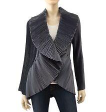 MASHIAH by HARARI Gunmetal Gray Pleated Blazer Button Front Jacket Small ~ NWOT