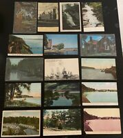 Lot of 16 Original Vintage Postcards - New York - Jamestown, Ithaca, Utica+