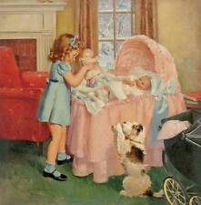 Little Girl Baby Sister Pink Bassinet by Frederick Brunner