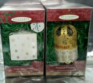 2 Hallmark Ornament Ringing in Christmas Reflect & Don't Open Till 2000 Gallery