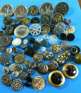 Antique Vtg Buttons AS IS Lot CRAFT/REPAIR Steels PICTURE Glass MOP  ALL DAMAGED