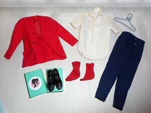 Vintage Barbie HTF KEN ROVIN REPORTER #1417 JACKET SHIRT PANTS RED SOCKS SHOES