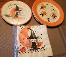 40 Vintage Halloween Party Papers Napkins Witch Owls Moon Bats Scalloped plates
