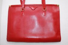 MARK CROSS RED GRAINED LEATHER ORGANIZER TOTE WITH GOLD SIDE HINGES