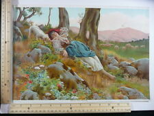 Rare Antique Orig VTG Dolce Far Niente Girl Relaxing In Meadow Litho Art Print