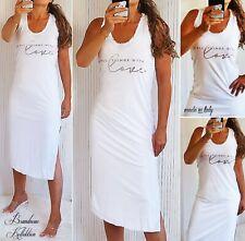 NEU 36 38 S-M Kleid Metallic-Silber Print Fransen-Bündchen Maxikleid Weiß Italy