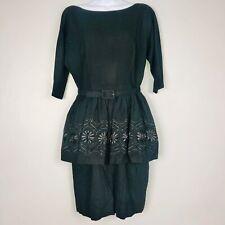 Vintage Womens Dress Size M Black Short Sleeve A Line Belted Floral Embroidered