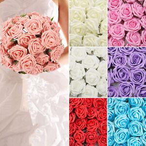 50Pcs Large 7CM Artificial Flowers Foam Rose Heads Wedding Party Decor Bouquet