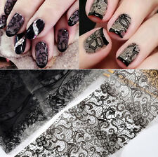 Nail Art Water Decals Transfers Black Lace Flowers Stamping Effect GEL Polish