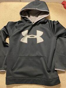 Boys Under Armour Hoodie SweatShirt Black Large L