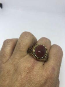 1980's Vintage Golden Stainless Steel Size 10.5 Men's Genuine Carnelian Ring