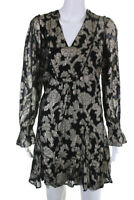 Anthropologie Womens Long Sleeve Floral Deep V Lurex Dress Black Gold Size MP