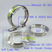 "2.5"" ID 64mm Universal Exhaust V-band Clamp Male Female SS304 Flange Kit M8 Bolt"